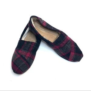 Toms Plaid Wool Blend/Faux Shearling flats Size 9W